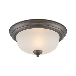 Pendenza Oiled Bronze Two-Light Flush Mount