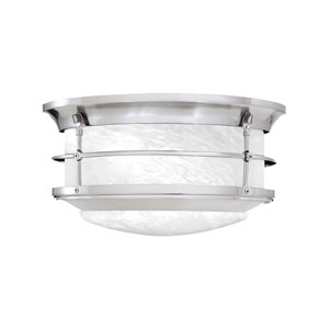 Newport Brushed Nickel Two-Light Outdoor Flush Mount
