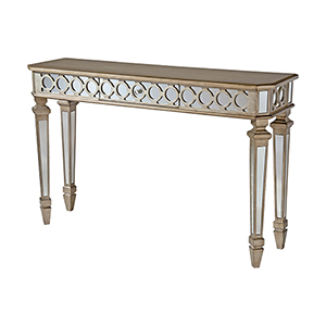 Mikala Hand-Painted Gold and Silver Console Table