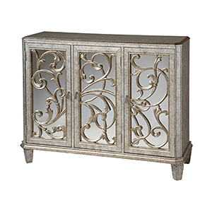 Leslie Hand-Painted Antique Silver and Black Cabinet