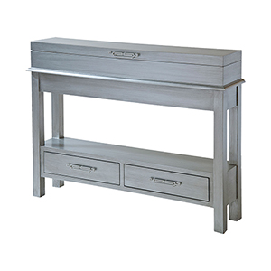 Messina Hand-Painted Silver and Brushed Nickel Cabinet