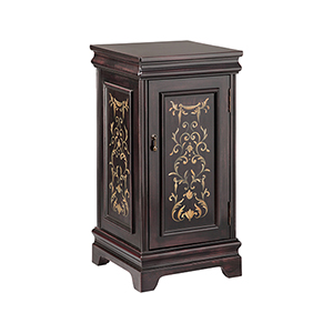 Pedestal Hand-Painted Black Cabinet