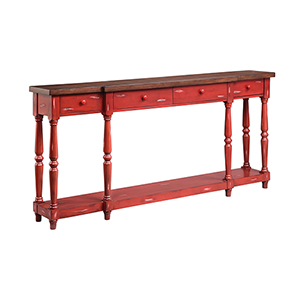 Simpson Hand-Painted Red Console Table