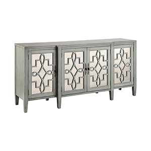Lawrence Hand-Painted Gray and Blue Cabinet