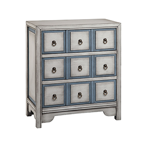 Adley Hand-Painted White and Blue Chest