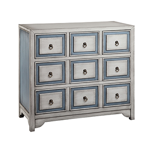 Conway Hand-Painted Blue and Smokey White Chest