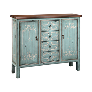 Tabitha Hand-Painted Blue and Silver Cabinet