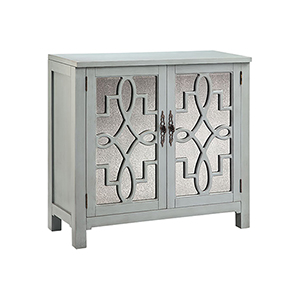 Laden Hand-Painted Gray with Antique Mirror Cabinet