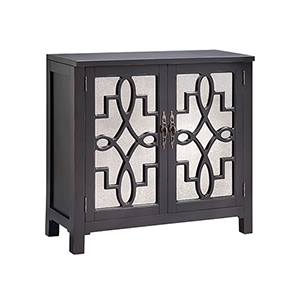 Laden Hand-Painted Ebony with Antique Mirror Cabinet
