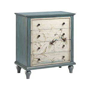 Heron Hand-Painted Blue and Cream Chest
