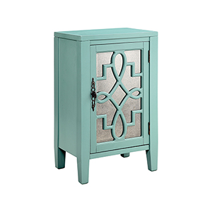 Leighton Hand-Painted Turquoise with Antique Mirror Cabinet