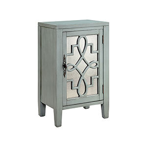 Leighton Hand-Painted Blue with Antique Mirror Cabinet