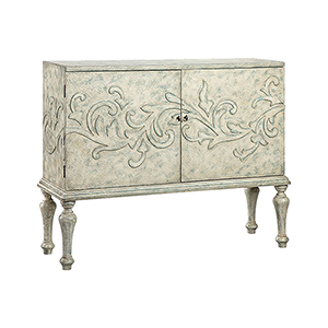 Rosetta Hand-Painted Cream and Blue Gray Cabinet