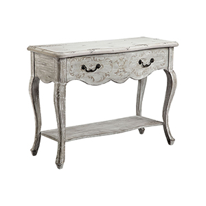 Dedra Distressed White Console Table