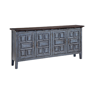 Cort Hand-Painted Blue and Dark Brown Cabinet