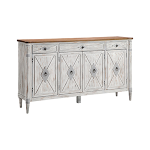 Graves Hand-Painted Gray and White Cabinet