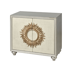 Irma Antique Silver with Cream Linen and Gold Leaf Cabinet