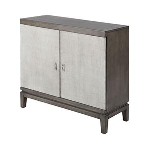 Briones Grey Faux Linen and Antique Silver Cabinet