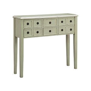 Chesapeake Hand-Painted Gray and Antique Brass Console Table
