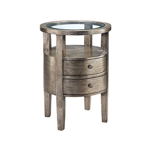 Lucan Hand-Painted Metallic Pewter Accent Table
