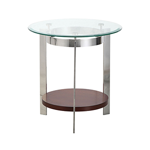 Mars Wood and Glass Accent Table