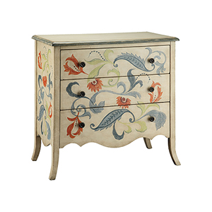 Caprice Hand-Painted Cream and Blue Gray Chest