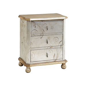 Celeste Hand-Painted Silver and Gold Chest