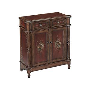 Chamberlin Handpainted Walnut and Burgundy 30-Inch Cabinet