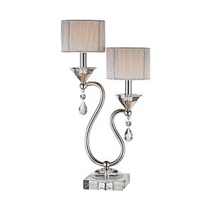 Krystal Polished Nickel Two-Light Table Lamp