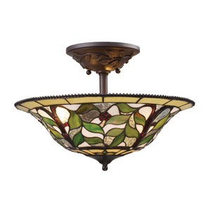 Latham Tiffany Bronze Three Light Semi-Flush Mount Fixture