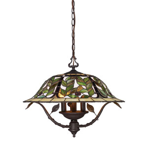 Latham Tiffany Bronze Three Light Chandelier