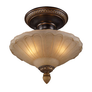 Restoration Flushes Golden Bronze 12-Inch Three Light Semi-Flush Mount Fixture