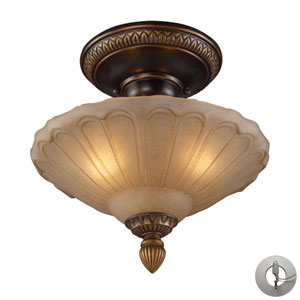 Restoration Flushes Golden Bronze Recessed Three Light Semi-Flush Mount Fixture