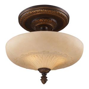 Restoration Flushes Golden Bronze 15-Inch Three Light Semi-Flush Mount Fixture