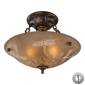 Restoration Flushes Golden Bronze 16-Inch Recessed Three Light Semi-Flush Mount Fixture