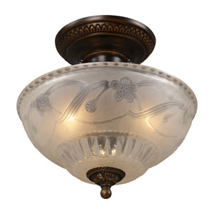 Restoration Flushes Golden Bronze 11-Inch Three Light Semi-Flush Mount Fixture