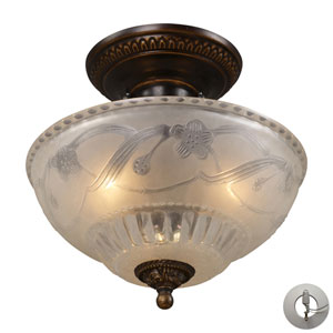 Restoration Flushes Golden Bronze 11-Inch Recessed Three Light Semi-Flush Mount Fixture