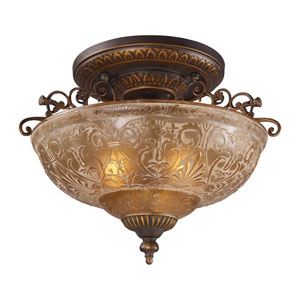 Restoration Flushes Golden Bronze 19-Inch Three Light Semi-Flush Mount Fixture