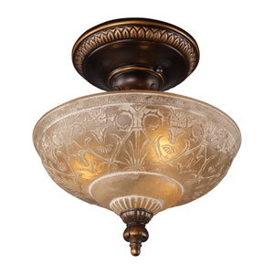 Restoration Flushes Golden Bronze 13-Inch Three Light Semi-Flush Mount Fixture