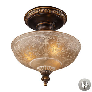 Restoration Flushes Golden Bronze Three Light Semi Flush Mount Fixture Fixture with Adapter Kit