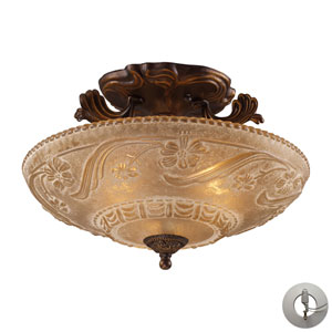 Restoration Flushes Golden Bronze 11-Inch Three Light Semi-Flush Mount Fixture with Recessed Conversion Kit