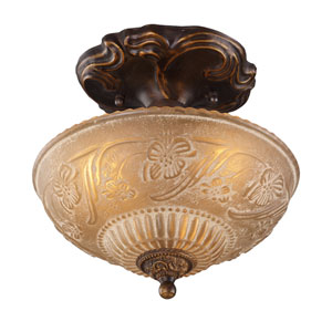 Restoration Flushes Golden Bronze Three Light Semi-Flush Mount Fixture Includes An Adapter Kit