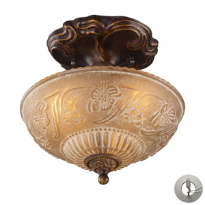 Restoration Flushes Golden Bronze Three Light Semi-Flush Mount Fixture