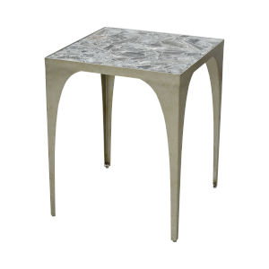 Crystalline Antique Silver Leaf with Grey Stone 18-Inch Accent Table