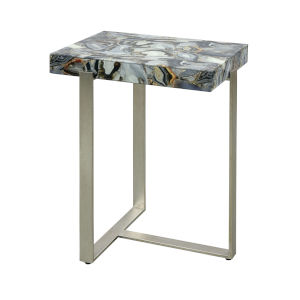 Oyster Stone Antique Silver Leaf with Grey Agate 19-Inch Accent Table