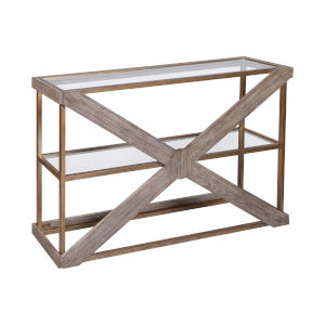 Jordrock Gold with Natural Wood Console Table