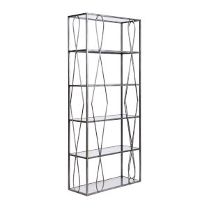 Neutro Graphite with Black Glass Bookcase Shelf