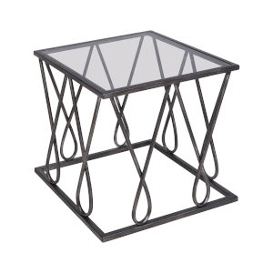 Neutro Graphite with Black Glass 20-Inch Accent Table