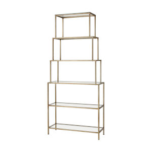 Louisville Antique Silver with Clear Glass Bookcase Shelf