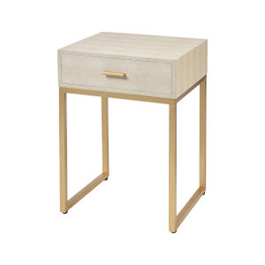 Les Revoires Cream with Gold 16-Inch Accent Table